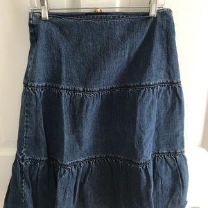 Boden Tiered Denim Prairie Skirt, 10UK, 6US